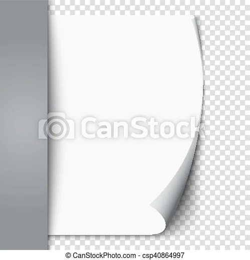 New white page curl on blank sheet isolated paper realistic empty - blank sheet of paper with lines