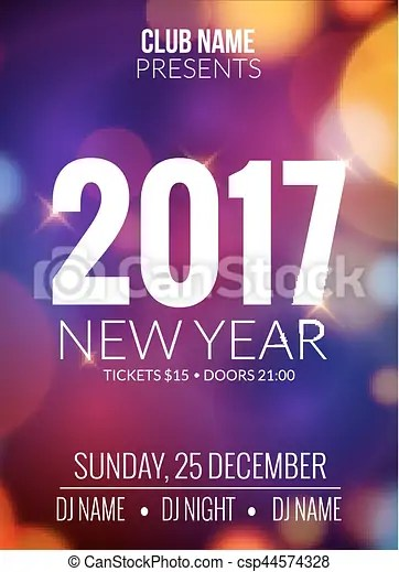New year party design banner event celebration flyer vector - new year poster template