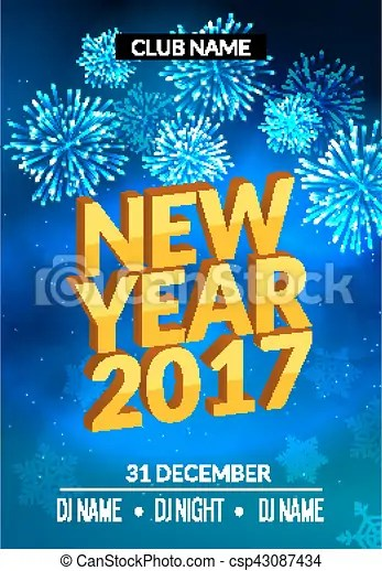 New year party poster design with fireworks light new year disco