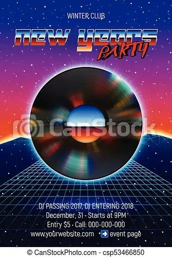 New years party invitation poster or flyer with 80s neon clipart - new years party flyer