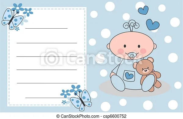 Celebration or invitation card for newborn baby boy