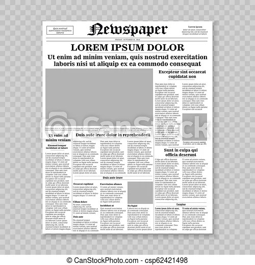 Realistic newspaper front page template vector illustration