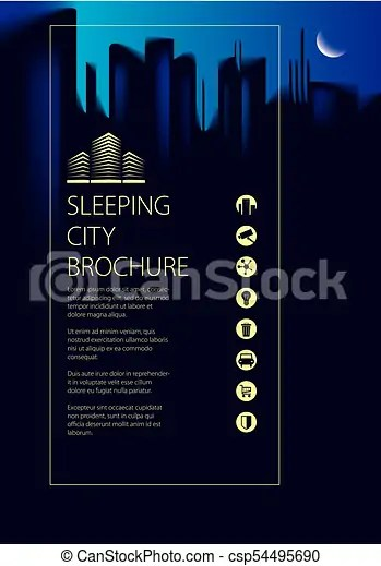 Night city traveling tourist information brochure, flyer, cover, poster or