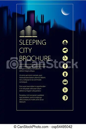 Night city traveling tourist information brochure, flyer, cover - guidebook template