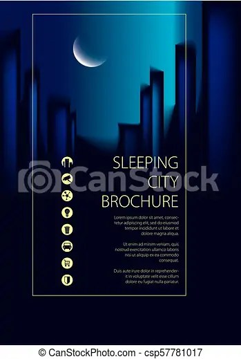 Night city traveling tourist guide book brochure, flyer, cover