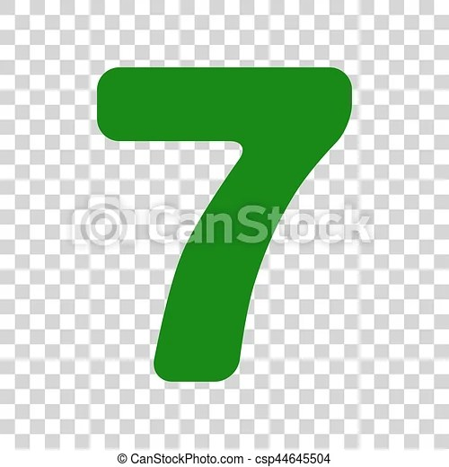 Number 7 sign design template element dark green icon on vector - number template