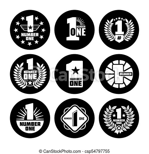 Number one vector labels on black icons Number one vector labels
