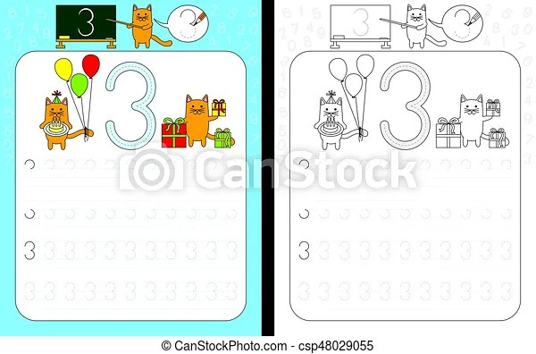Numbers tracing worksheet Worksheet for practicing number writing - Numbers In Writing