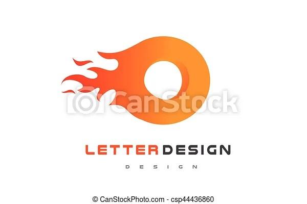 O letter flame logo design fire logo lettering concept O letter - flame logo