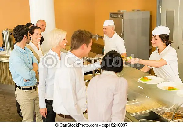 Office woman in canteen lunch-lady serve meals