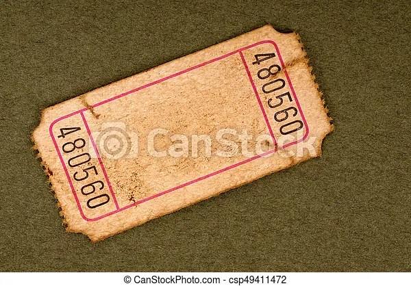 Old blank ticket stub