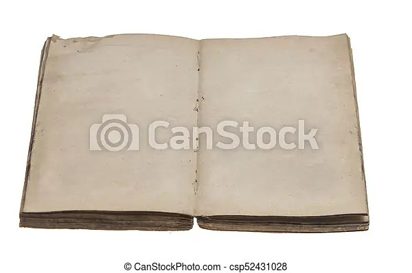 Old opened book with blank pages Open old blank book isolated on white - opened book