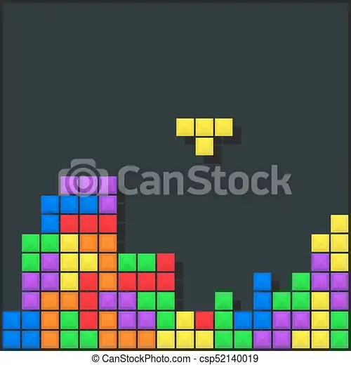 Old video game background template brick game pieces layout vector - video game template