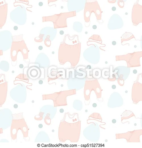 On a white background colored sketches of clothes seamless pattern