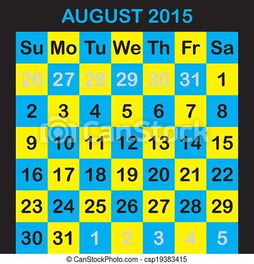 One month calendar 2015 august