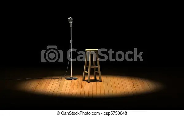 Open Mic Microphone Stand And Wooden Stool Under A