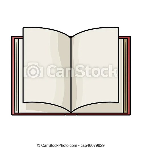 Opened book icon in cartoon style isolated on white stock photo - opened book