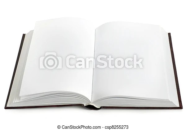 Opened book with blank pages on a white background - opened book