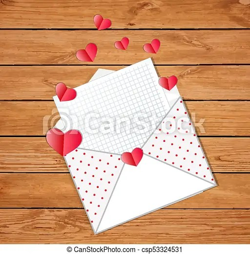 Love letter opened envelope with empty blank and many folded paper