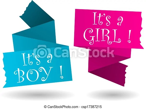 Origami banner-boy-girl-announcement Origami banner with drop