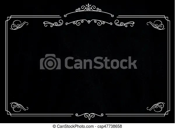 A4 size horizontal cafe menu - ornamental retro elegant black border - black border background