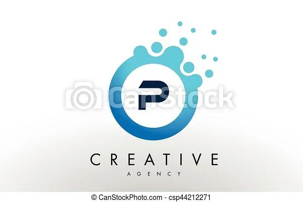P letter logo blue dots bubble design vector P dots letter logo