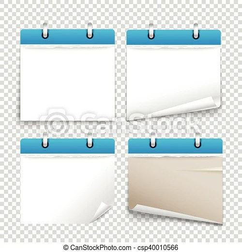 Paper diary on transparent background vector collection template