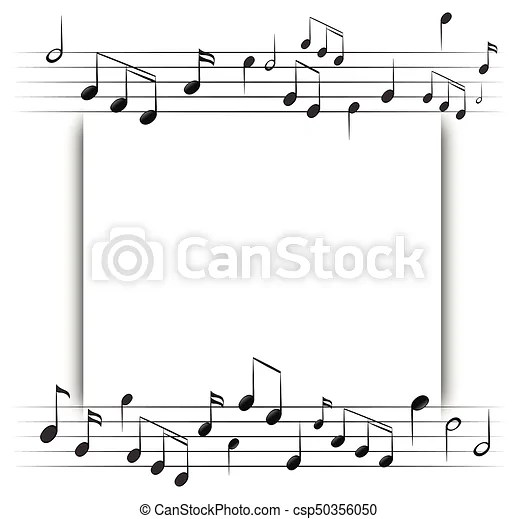 Paper template with music notes in background illustration clipart