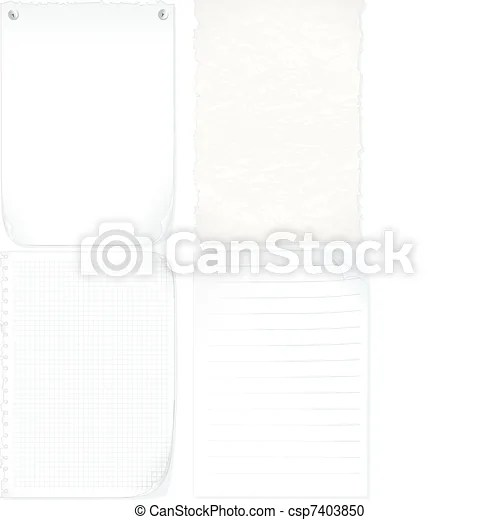 Paper Set of paper sheets, graph paper, old paper, notepad page