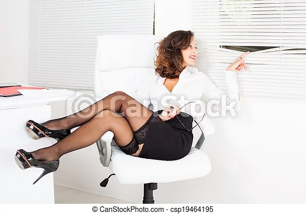 Peek Through The Window Sexy Business Woman Sitting On
