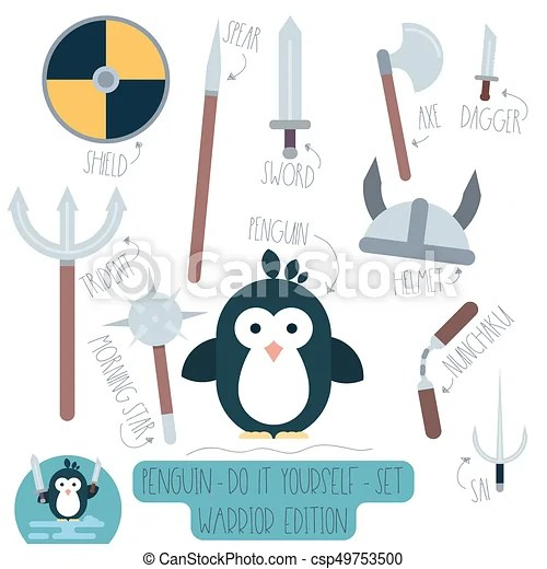 Penguin do it yourself template with weapons Vector do it vector - penguin template