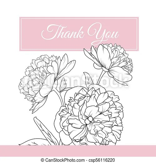 Peony rose flowers bouquet thank you card template Peony rose