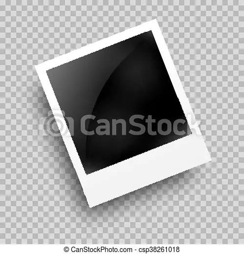 Photo frame polaroid template on transparent grid isolated