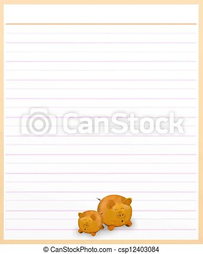 Pigs on brown color lined paper  Hand drawing of two lovely pig on