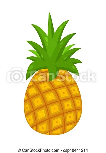 Pineapple fruit with green leafs drawing flat simple design