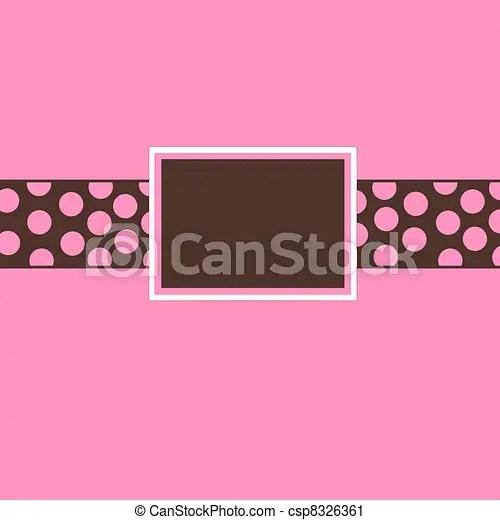Pink  brown polka dot invite Pink and brown polka dot clipart
