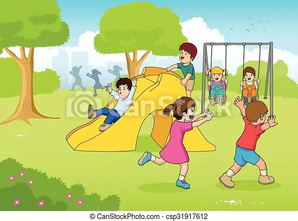 Playing at playground Cartoon illustration of children playing at - cartoon children play