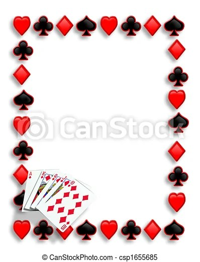 Playing cards poker border royal flush Playing cards suits