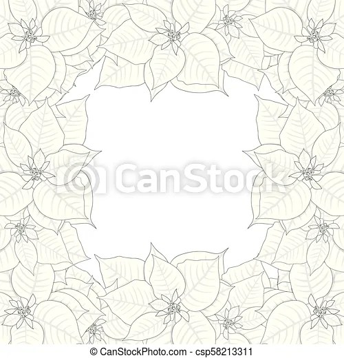 Poinsettia outline border2 Poinsettia outline border isolated on