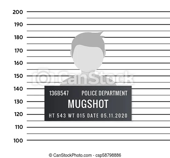 Police mugshot criminal template vector silhouette lineup criminal