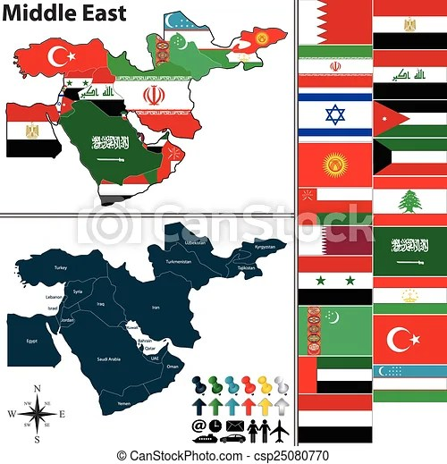 Political map of middle east Vector of political map of middle east