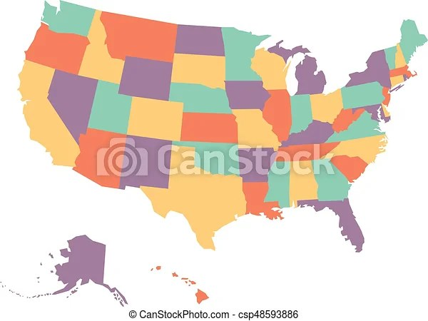 Political map of usa, united states of america, in four colors on