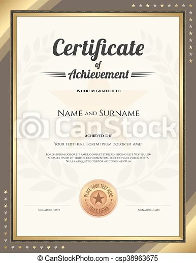 Portrait certificate of achievement template with gold border and