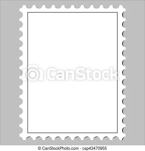Clean postage stamp, template, icon on white background clipart - stamp template