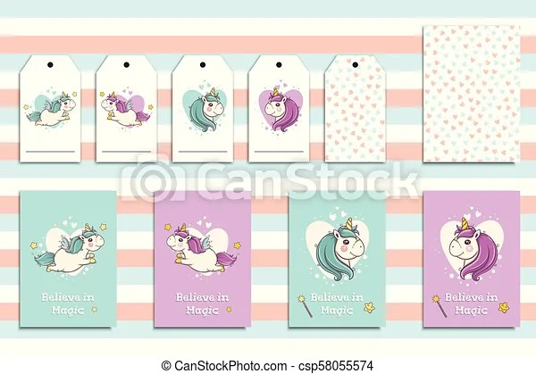 Postcards set with cute flying unicorns and his portrait cartoon