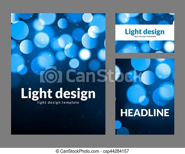 Poster design template with bokeh light effect vector modern card