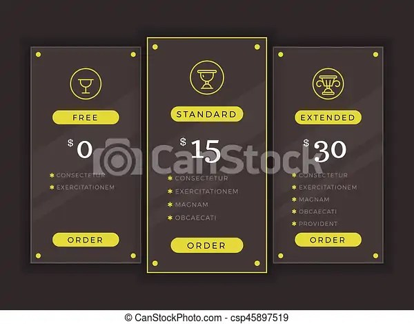 Pricing table, comparison chart vector template price hosting - price chart template