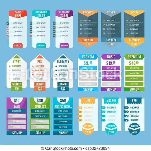 Pricing table templates set Pricing table templates set with basic