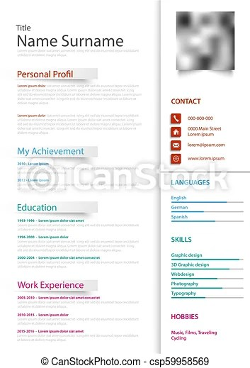 Professional personal resume cv in white and color design vector eps 10