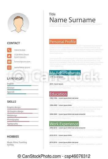 Professional white resume cv template vector eps 10 vector clip art - professional cv template
